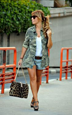 I would NEVER wear jean shorts... But completely love the camo jacket with a leopard handbag... Yes, I would wear this!
