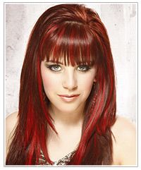 long red highlighted hair