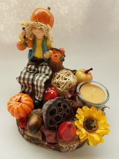 Őszi asztaldísz Candles, Wreaths, Halloween, Fall, Home Decor, Souvenir, Autumn, Homemade Home Decor, Door Wreaths