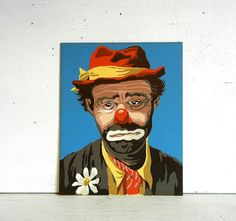 Colorful vintage paint by number painting of circus clown Emmett Kelly aka Weary Willie.