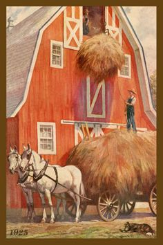 Quilt Block Farmers Putting Hay in Barn 1925 printed on cotton. Ready to sew. Single 4x6 block $4.95. Set of 4 blocks with pattern $17.95.