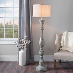 Accent your rustic décor with this Distressed Eloise Floor Lamp! You'll love fall in love with its classic candlestick base and distressed finish. Farmhouse Floor Lamps, Rustic Floor Lamps, Diy Floor Lamp, Farmhouse Flooring, Rustic Lamps, Modern Floor Lamps, Modern Farmhouse Decor, Farmhouse Style, Antique Lamps