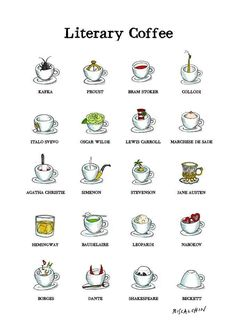 "Clever Literary Coffee Poster - My Modern Met: Italian food illustrator Gianluca Biscalchin has created ""Literary Coffee,"" a short comic of coffee cups based on famous authors."