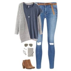 Gray chunky cardigan, blue tee & ripped jeans