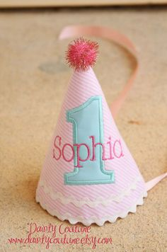 First Birthday Hat - Winter Wonderland - Pink and white stripes with aqua and hot pink accents - Free personalization