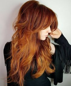 60 Lovely Long Shag Haircuts for Effortless Stylish Looks Long Layered Copper Red Hairstyle with Ban Long Thin Hair, Long Layered Hair, Long Hair Cuts, Long Curly, Long Shag Haircut, Magenta Hair, Triangle Hair, Beautiful Haircuts, Gorgeous Hairstyles