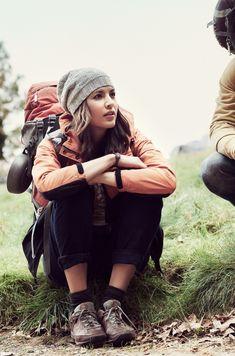 beanie, backpack, socks + shoes, jacket
