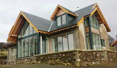 Timber Frame, Self Build Houses Images, Plans and Design Galleries Scotland & UK - Fleming Homes Timber Frame Scotland New Home Designs, Home Design Plans, Dormer Bungalow, Self Build Houses, Modern House Plans, Modern Houses, Contemporary Barn, Archi Design, Modern Craftsman