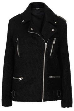 Black Wool Biker Jacket