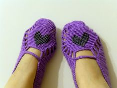 Valentines Day GiftGrey Heart On Purple Turkish by SmilingKnitting, $32.00