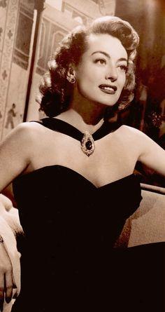 JOAN CRAWFORD in black evening gown 1947 (detail) from vintage photo (please follow minkshmink on pinterest)