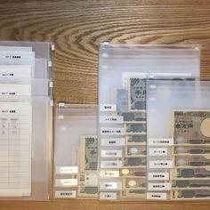 家計の中での必要経費を、EVAケースを使って区分けしておきます。中身が見えるので、とてもわかりやすい収納方法です。