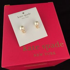 """Kate Spade Pearls of wisdom studs Retails for $58. Kate Spade NY """"Pearls Of Wisdom Stud"""" Earrings.  Prong-set crystals accent luminous glass pearls in these elegant, glistening 14k gold-plated studs. Comes on earring card shown, no box and no pricing info on back of card. Trades kate spade Jewelry Earrings"""
