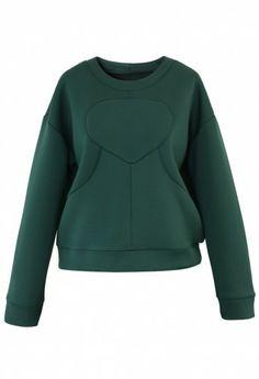 quilted evergreen sweatshirt