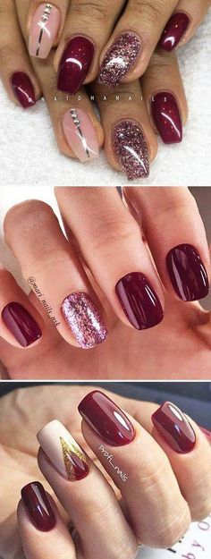 Choosing between countless burgundy nails ideas is a tough job. But, hey, you have all the time in the world ahead, right? Dive in! Nägel Ideen tauchen ein 45 Newest Burgundy Nails Designs You Should Definitely Try In 2020 Burgundy Nail Designs, Burgundy Nails, Winter Nail Designs, Cool Nail Designs, Art Designs, Ombre Burgundy, Sns Nails Colors, Fun Nails, Bright Nails