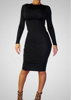Pretty Round Neck Black Sheath Dress for Autumn  on sale only US$10.30 now, buy cheap Pretty Round Neck Black Sheath Dress for Autumn  at martofchina.com