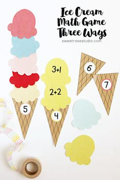 Ice Cream Math Game Three Ways at Sweet Rose Studio | This set covers color matching, simple addition facts, and number recognition; there's a little something for all beginning learners!