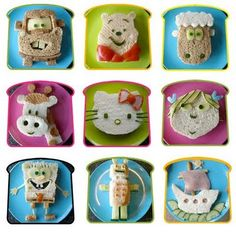 What's for lunch, fun kid sandwiches Toddler Meals, Kids Meals, Toddler Food, Cute Food, Good Food, Yummy Food, Kid Sandwiches, Sandwich Ideas, Kind Und Kegel