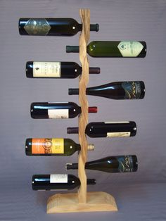 "Wine Shelf ""Totem"", Standing Wine Rack ""Totem"", Wooden Wine Holder"