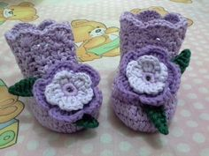 Purple crochet baby shoes