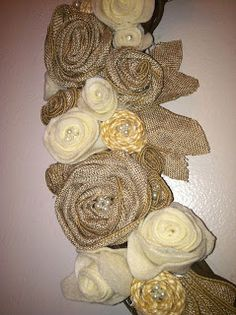 Flowers made from burlap and lace ribbons