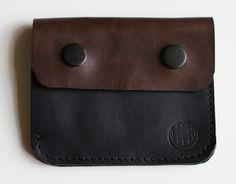 SOLIDNY CZARNO-BRĄZOWY PORTFEL - PMR-leathercraft - Portfeliki