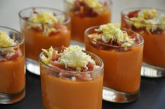 Chupitos de Salmorejo (Córdoba). I loved Salmorejo. So yummy. Sometimes, it had tuna on top instead of ham.