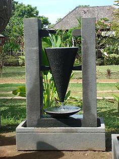 Modern Fountain, Fountain Design, Bali Garden, Asian Garden, Outdoor Water Features, Water Features In The Garden, Garden Water Fountains, Waterfall Fountain, Concrete Crafts