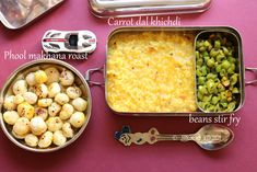 Kids lunch box recipes # 4 phool makhana and carrot dal khichdi,beans poriyal Video recipe Moong Dal Khichdi, Clarified Butter Ghee, Lunch Box Recipes, Recipe For 4, Stir Fry, Food Videos, Carrots, Fries