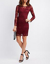 Red Floral Lace Bodycon Dress