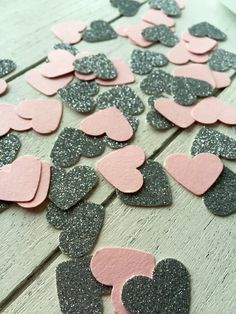 Pink and silver heart confetti. #confetti #partydecorations #tabledecorations