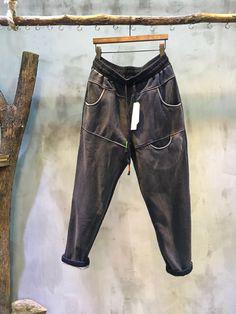 Fashion Pocket Patchwork Loose Harem Pants Cheap Cotton Trousers #pants #cheap #cotton #napping #harem pants #baggy #gray #amazing #style