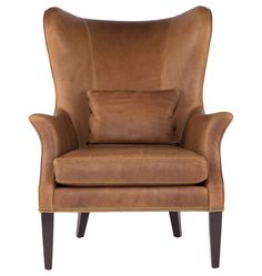 Clinton Modern Wingback Italian Leather Chair with Nailheads - | Rejuvenation
