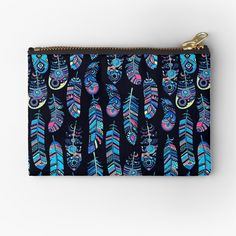 """Turquoise Boho Feathers Pattern"" Zipper Pouch by HavenDesign 