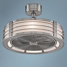 This ceiling fan features a sleek, brushed nickel finish motor and integrated opal frosted glass light.