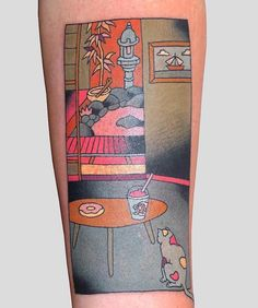 French artist Brindi creates Japanese style tattoos inspired by Japanese woodblock prints.