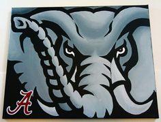 Hand Painted Alabama Crimson Tide Logo 16x20 Canvas by MPsArts, $49.00