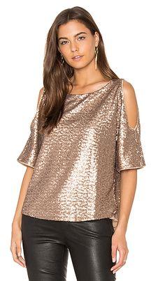 Sequin Embellished Cut Out Shoulder Top