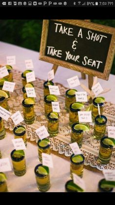 Take a shot & Have a seat name cards !!!