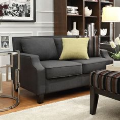 Ellyson Dark Grey Sloped Track Arm Loveseat