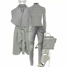 Not the heels Grey Leggings, Grey Pants Outfit, Leggings Are Not Pants, Grey Fashion, Fall Fashion Outfits, Street Fashion, Trendy Outfits, Fashion 2018, Autumn Fashion