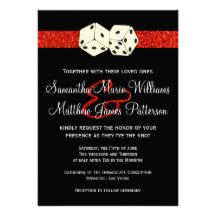 Black & Red Glitter Effect Dice Las Vegas Wedding Invites