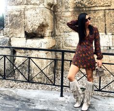 BOHO CHIC | Cool ur style Fringe Boots, Flat Boots, Leather Booties, Grey Leather, Boho Chic, Zara, Booty, Casual, Outfits