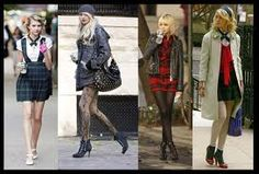 And more plaid. Royal Blue Color, Color Pop, Beach Blonde Hair, Jenny Humphrey, Shades Of Burgundy, Taylor Momsen, Grey Outfit, Black Ruffle, Grey Shirt