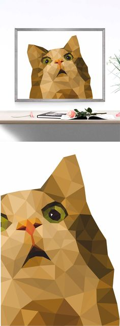 Cat Polygonal Polygon Low poly Printable Geometric Prints Wall art Triangle Animals Modern art Print Nursery art Home decor Digital file by AtticOfMemories