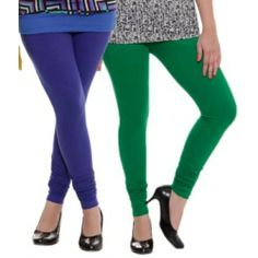 Blue & Green Woman's Cotton Leggings ( Pack of 2 )