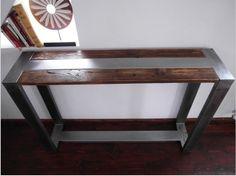 Table Console industrielle en acier et rustique à la main en