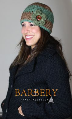This hat can be custom made in any color/color combination of your choice! Crocheted 100% by hand using a warm and cozy PURE ALPACA yarn from Bolivia, South America. info@barberyalpaca.com