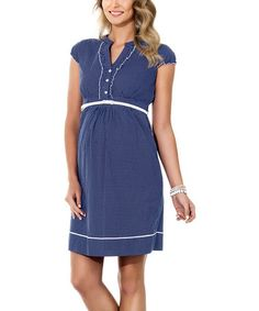Look what I found on #zulily! Blue Pin Dot Maternity Cap-Sleeve Dress - Women & Plus by Ebru Maternity #zulilyfinds