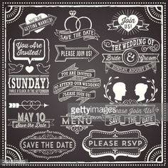 Retro and hand-drawn vintage chalkboard invitation elements. File is layered, each object is grouped separately and colors are global for easy editing. Texture can be removed.